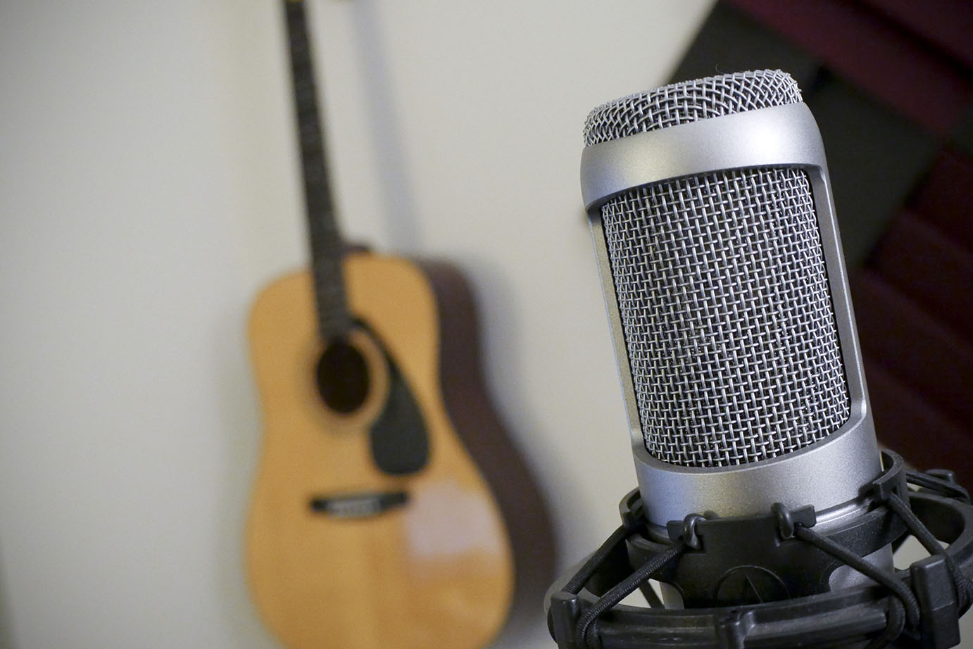 Microphone on mic stand and guitar. Shallow depth of field