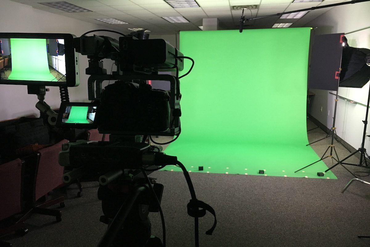 Video shoot set up with a green screen